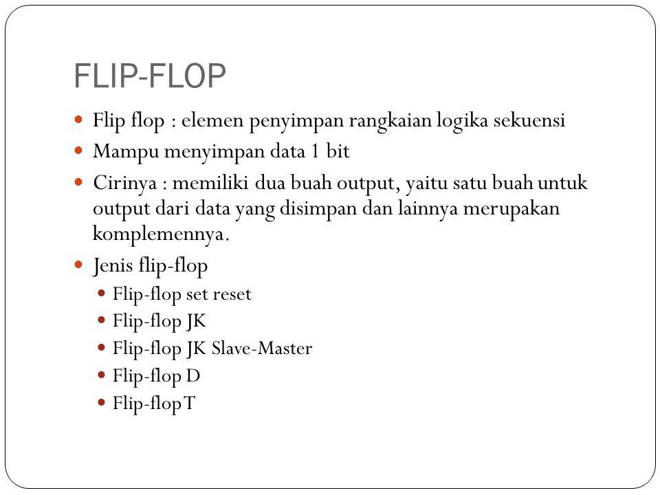 FLIP-FLOP Flip flop : elemen penyimpan rangkaian logika sekuensi