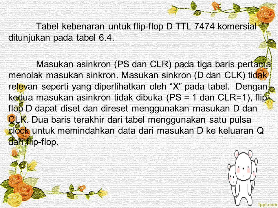 Tabel kebenaran untuk flip-flop D TTL 7474 komersial ditunjukan pada tabel 6.4.