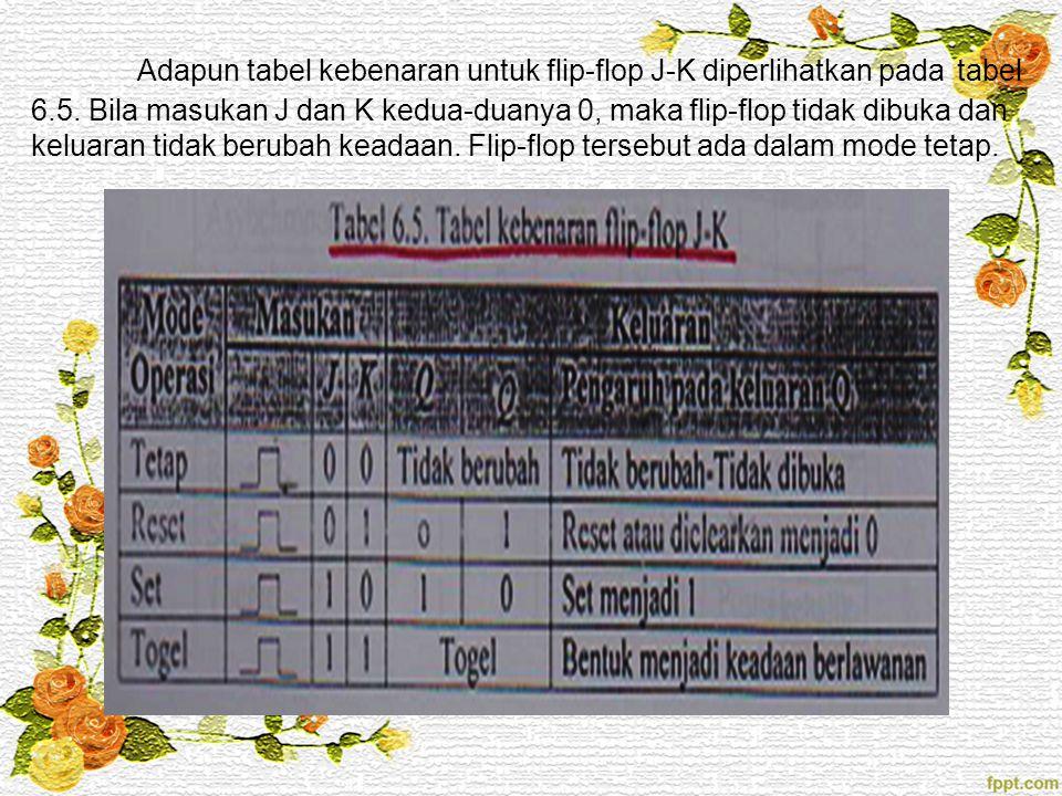 Adapun tabel kebenaran untuk flip-flop J-K diperlihatkan pada tabel 6