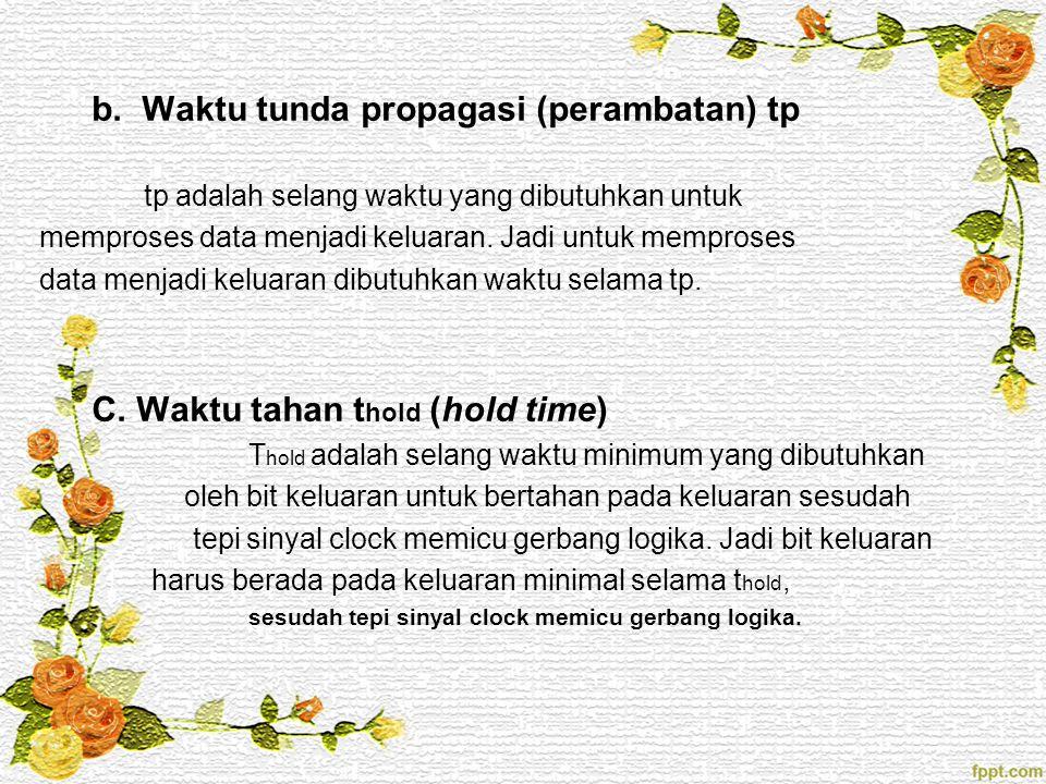 b. Waktu tunda propagasi (perambatan) tp