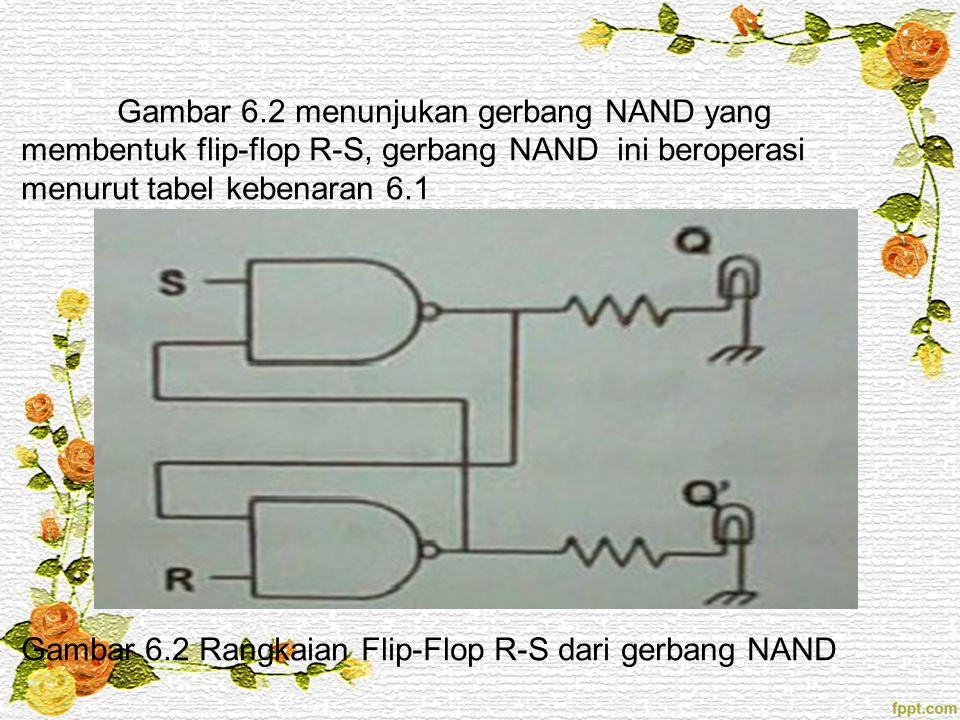 Gambar 6.2 menunjukan gerbang NAND yang membentuk flip-flop R-S, gerbang NAND ini beroperasi menurut tabel kebenaran 6.1 Gambar 6.2 Rangkaian Flip-Flop R-S dari gerbang NAND
