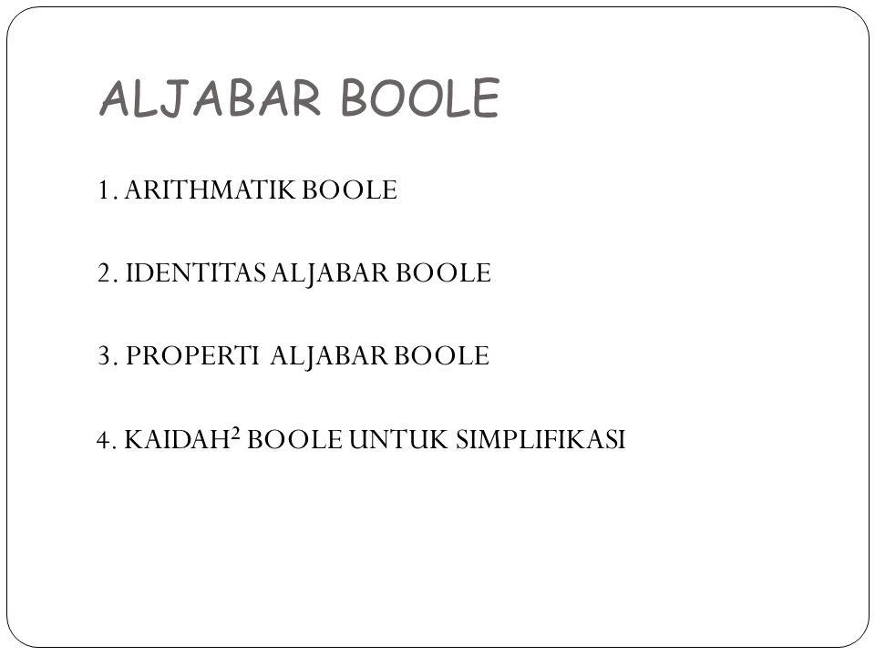 ALJABAR BOOLE 1. ARITHMATIK BOOLE 2. IDENTITAS ALJABAR BOOLE