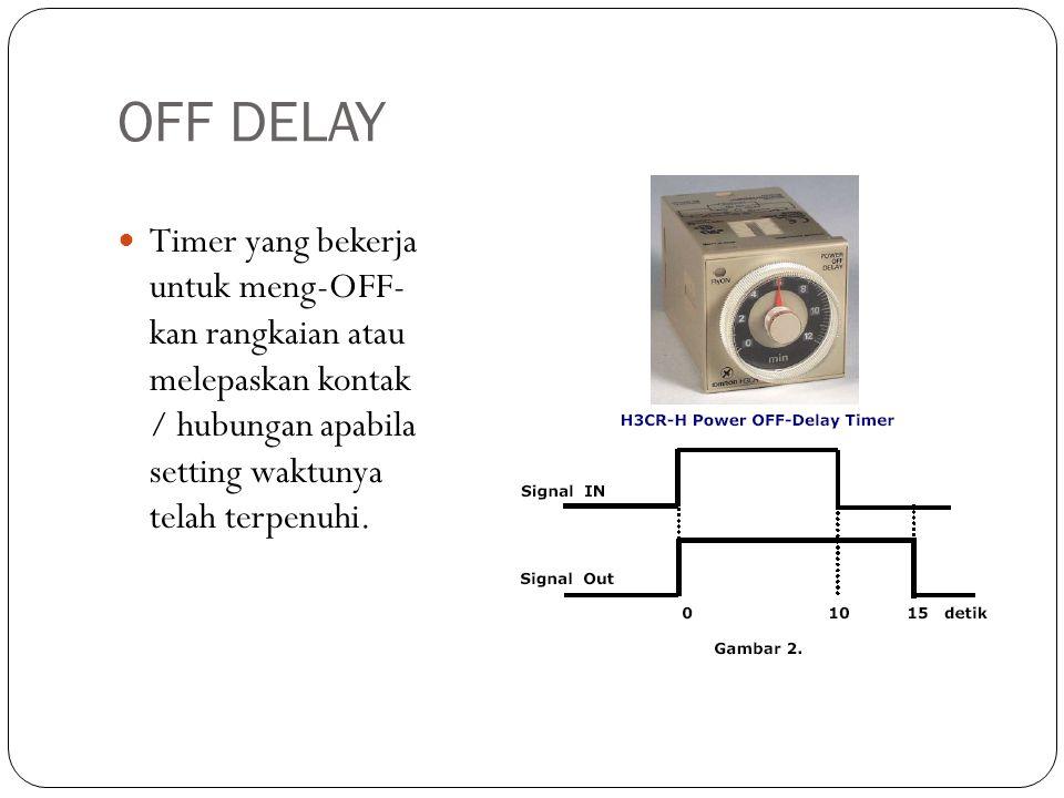 OFF DELAY Timer yang bekerja untuk meng-OFF- kan rangkaian atau melepaskan kontak / hubungan apabila setting waktunya telah terpenuhi.