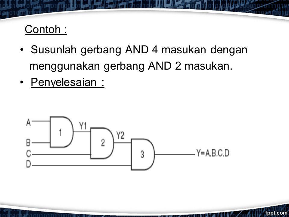 Contoh : Susunlah gerbang AND 4 masukan dengan menggunakan gerbang AND 2 masukan. Penyelesaian :