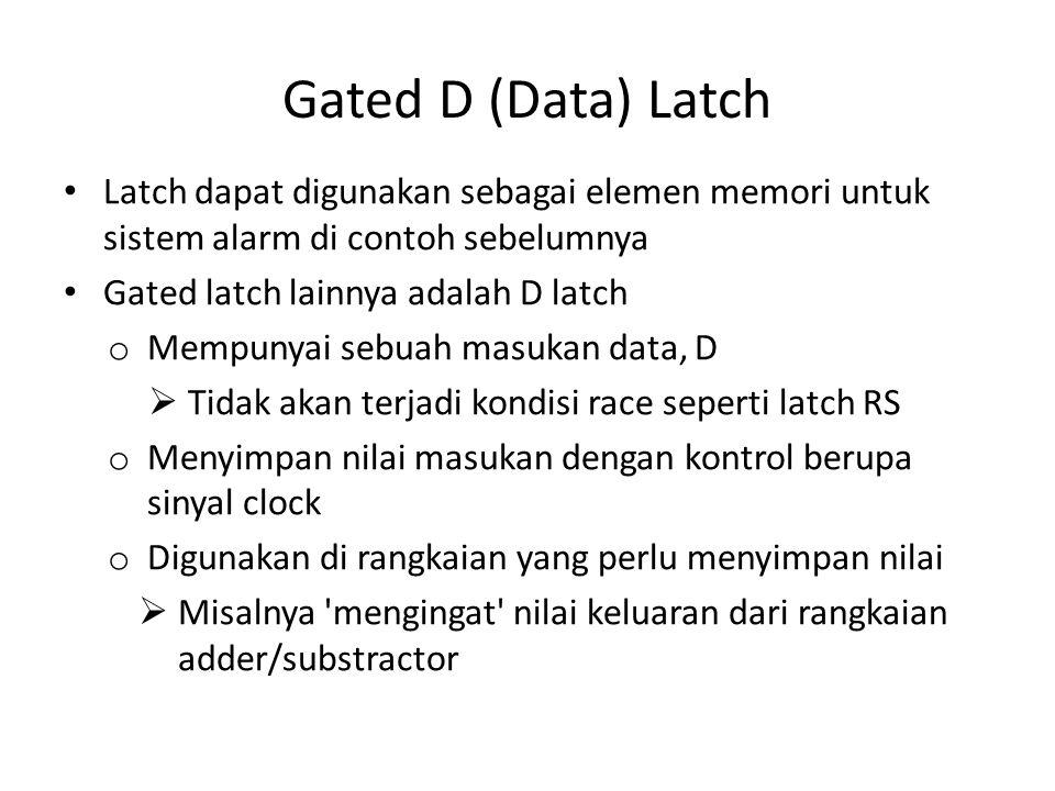 Gated D (Data) Latch Latch dapat digunakan sebagai elemen memori untuk sistem alarm di contoh sebelumnya.