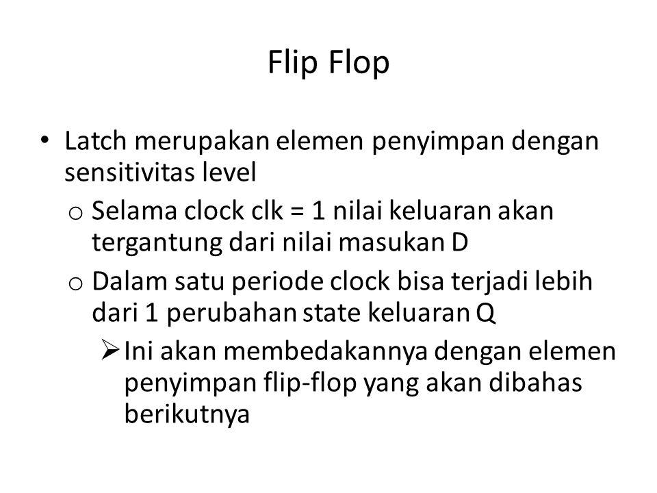Flip Flop Latch merupakan elemen penyimpan dengan sensitivitas level