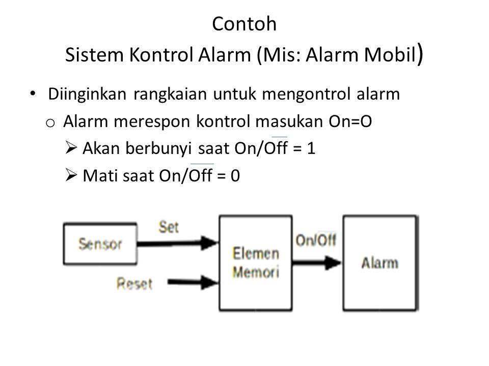 Contoh Sistem Kontrol Alarm (Mis: Alarm Mobil)