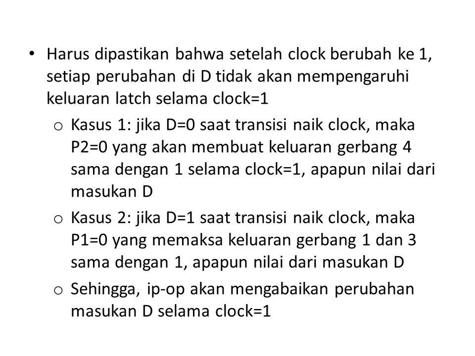 Harus dipastikan bahwa setelah clock berubah ke 1, setiap perubahan di D tidak akan mempengaruhi keluaran latch selama clock=1