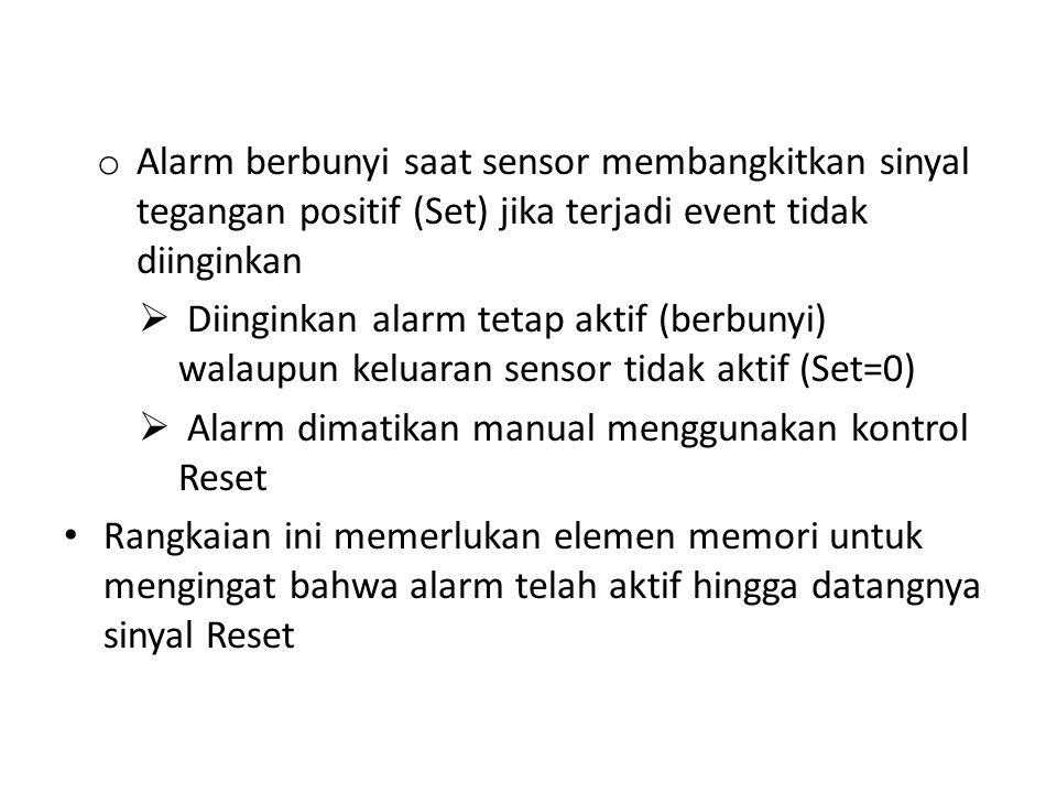 Alarm berbunyi saat sensor membangkitkan sinyal tegangan positif (Set) jika terjadi event tidak diinginkan