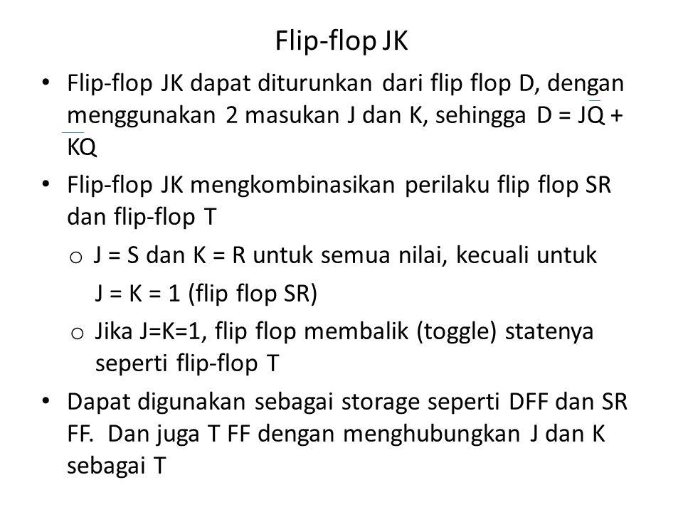 Flip-flop JK Flip-flop JK dapat diturunkan dari flip flop D, dengan menggunakan 2 masukan J dan K, sehingga D = JQ + KQ.