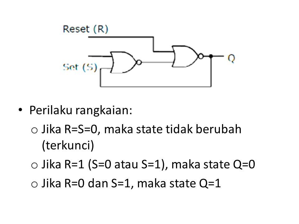 Perilaku rangkaian: Jika R=S=0, maka state tidak berubah (terkunci) Jika R=1 (S=0 atau S=1), maka state Q=0.