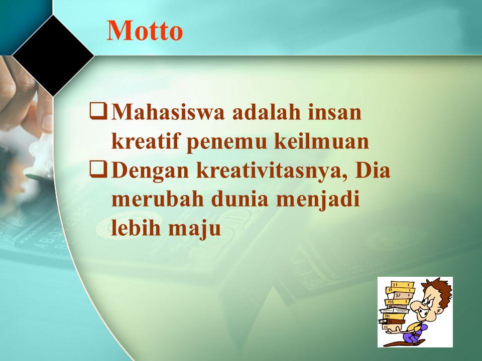 Motto Mahasiswa adalah insan kreatif penemu keilmuan