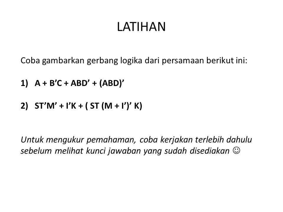 LATIHAN Coba gambarkan gerbang logika dari persamaan berikut ini: