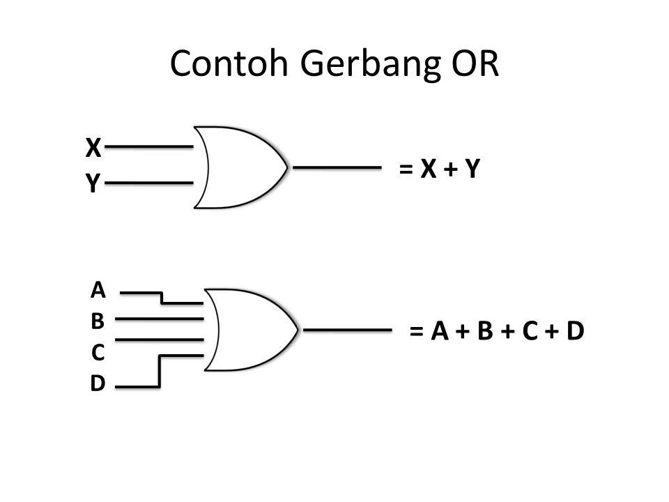 Contoh Gerbang OR X Y = X + Y A B C D = A + B + C + D
