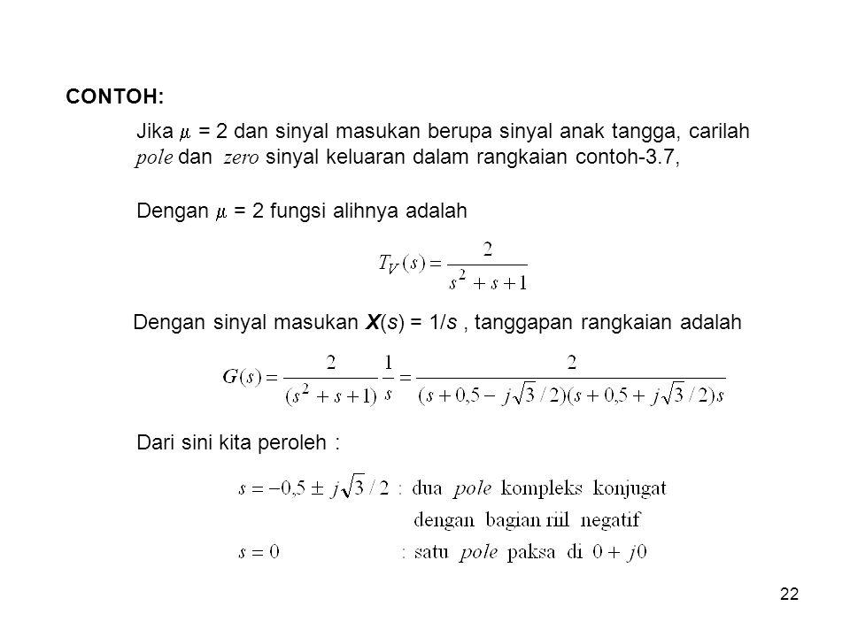CONTOH: Jika  = 2 dan sinyal masukan berupa sinyal anak tangga, carilah pole dan zero sinyal keluaran dalam rangkaian contoh-3.7,