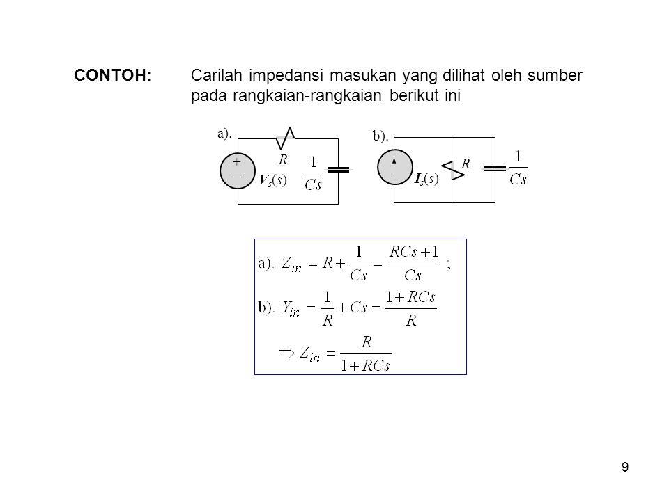 CONTOH: Carilah impedansi masukan yang dilihat oleh sumber pada rangkaian-rangkaian berikut ini. a).