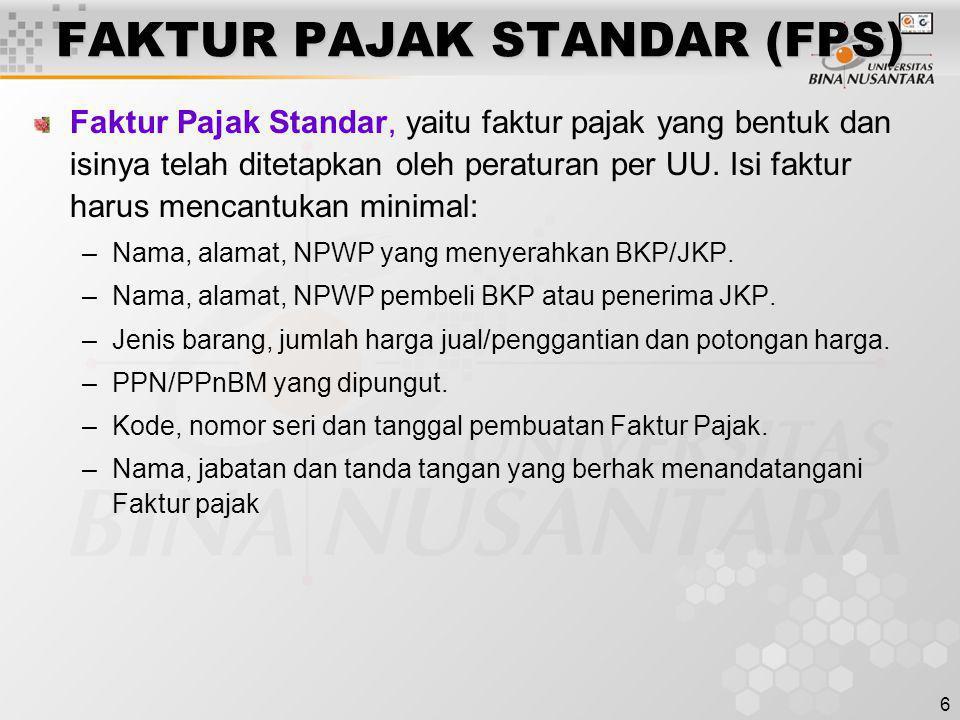 FAKTUR PAJAK STANDAR (FPS)