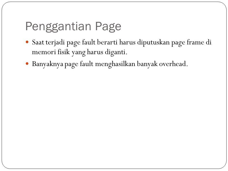 Penggantian Page Saat terjadi page fault berarti harus diputuskan page frame di memori fisik yang harus diganti.