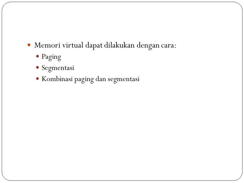 Memori virtual dapat dilakukan dengan cara: