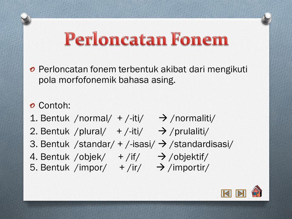 Perloncatan Fonem Perloncatan fonem terbentuk akibat dari mengikuti pola morfofonemik bahasa asing.