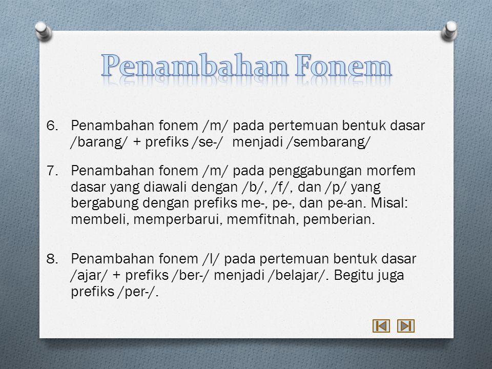 Penambahan Fonem Penambahan fonem /m/ pada pertemuan bentuk dasar /barang/ + prefiks /se-/ menjadi /sembarang/