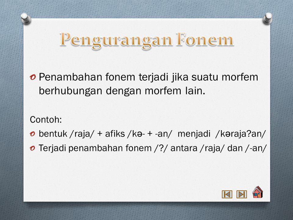 Pengurangan Fonem Penambahan fonem terjadi jika suatu morfem berhubungan dengan morfem lain. Contoh: