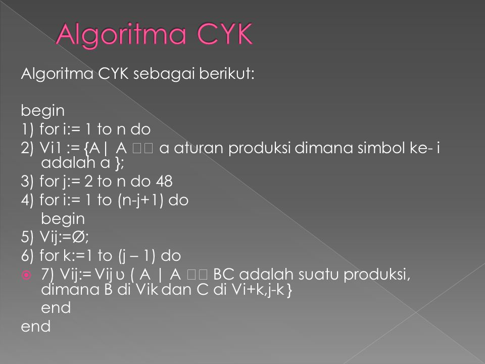 Algoritma CYK Algoritma CYK sebagai berikut: begin