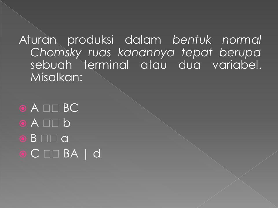 Aturan produksi dalam bentuk normal Chomsky ruas kanannya tepat berupa sebuah terminal atau dua variabel. Misalkan: