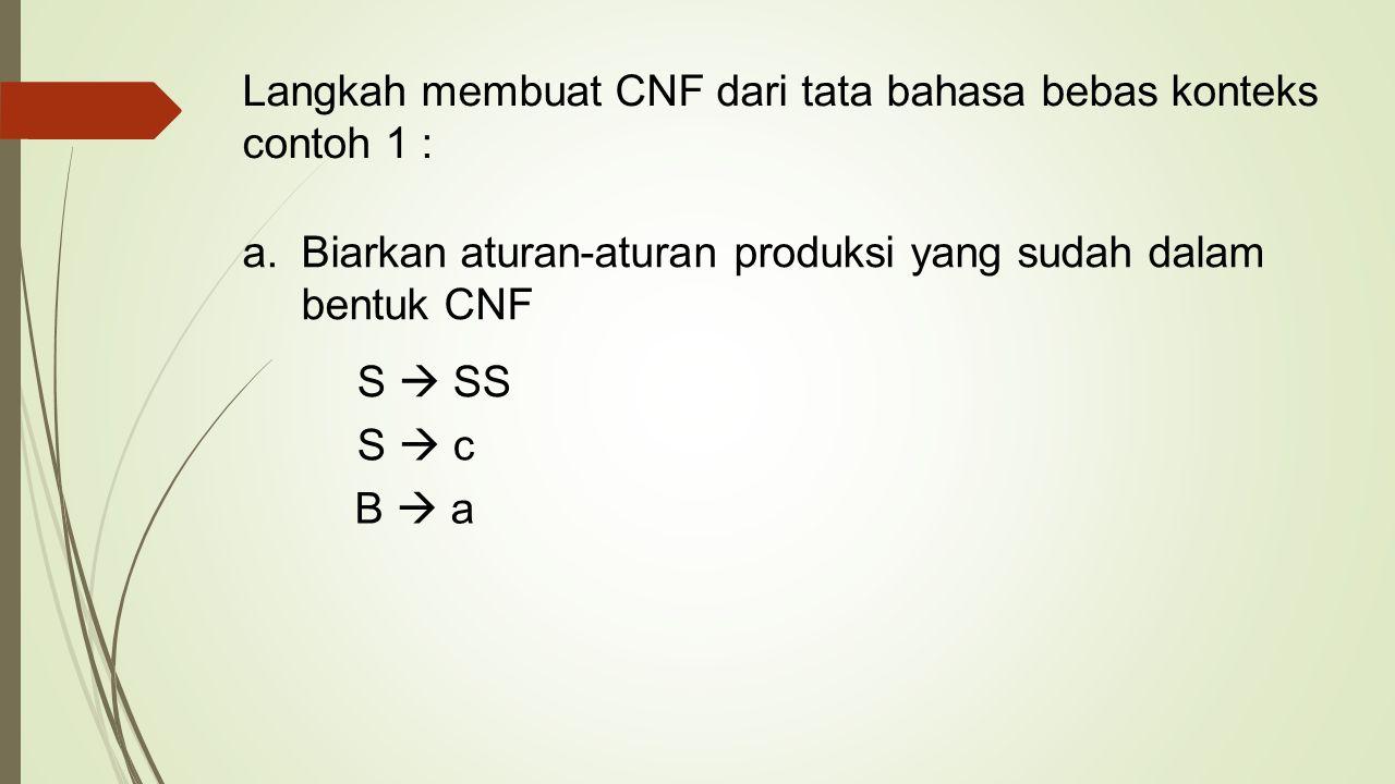 Langkah membuat CNF dari tata bahasa bebas konteks contoh 1 :