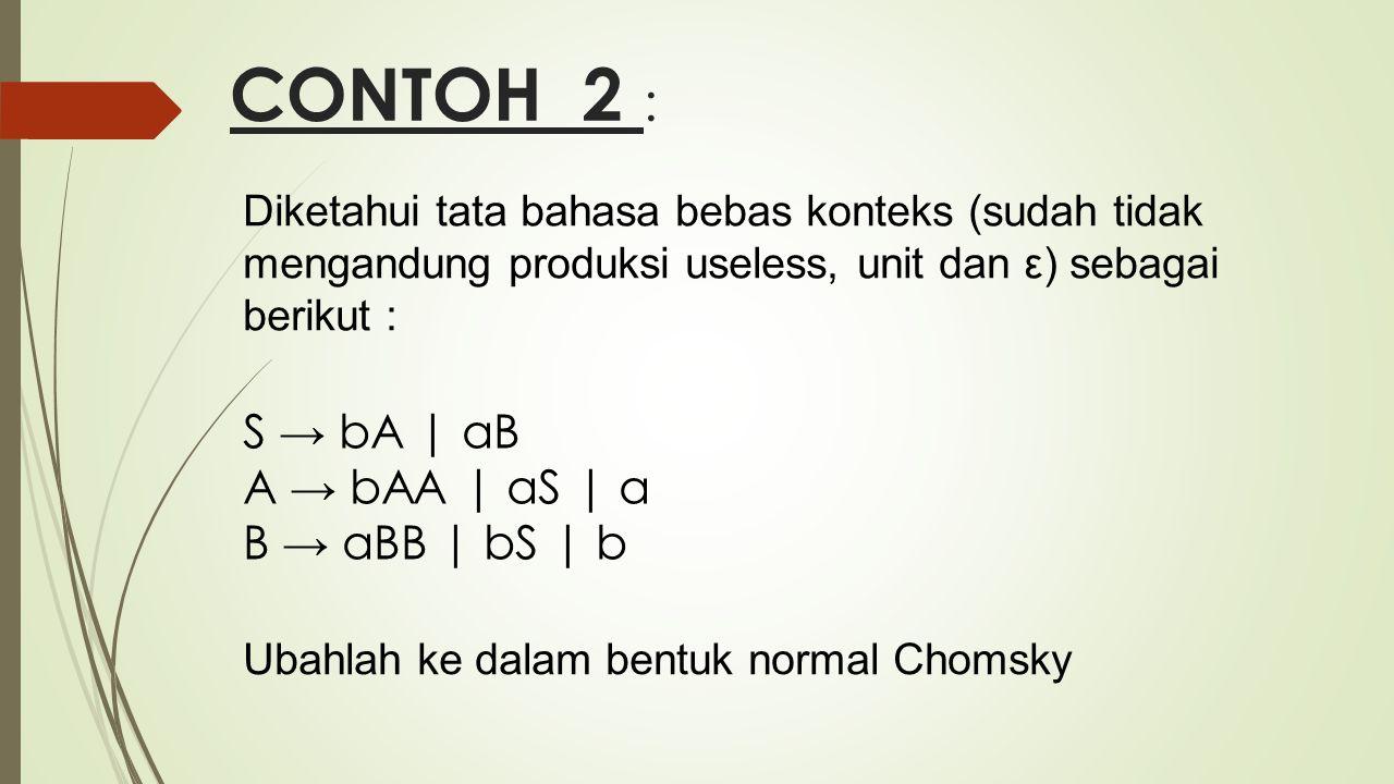CONTOH 2 : S → bA | aB A → bAA | aS | a B → aBB | bS | b