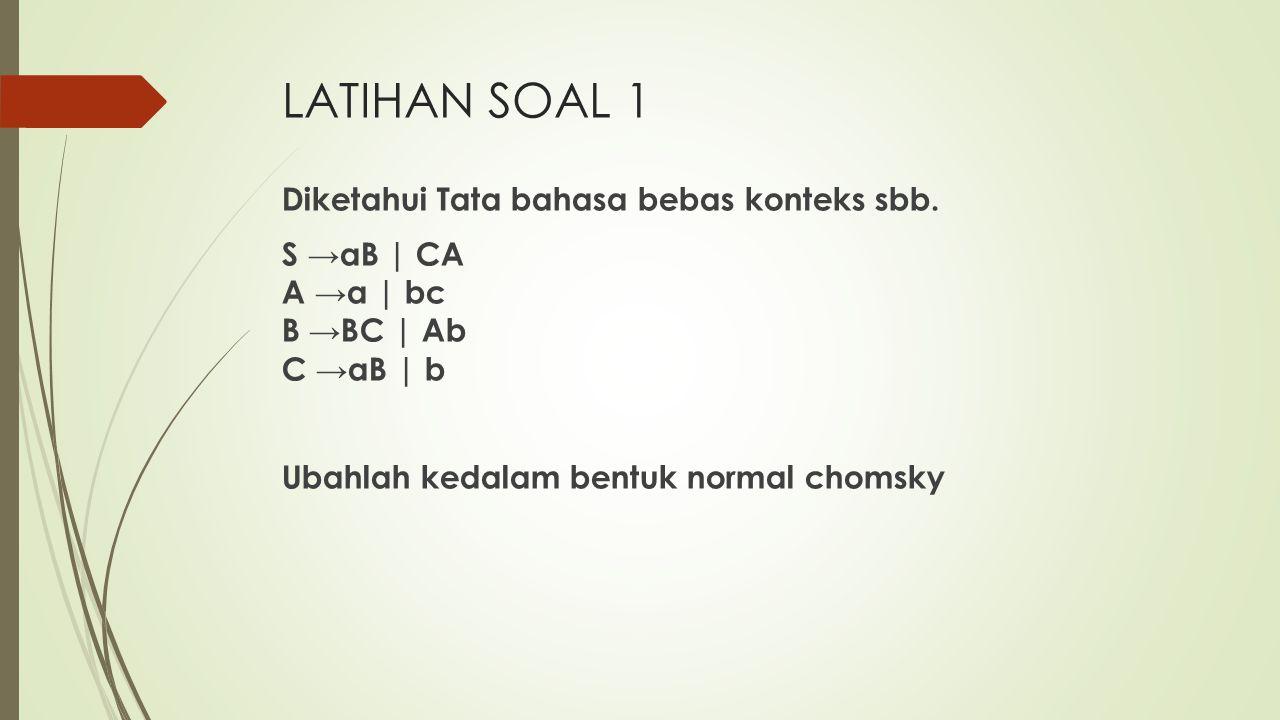 LATIHAN SOAL 1 Diketahui Tata bahasa bebas konteks sbb.