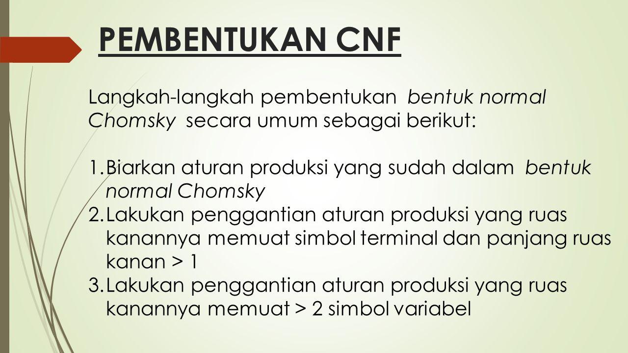 PEMBENTUKAN CNF Langkah-langkah pembentukan bentuk normal Chomsky secara umum sebagai berikut: