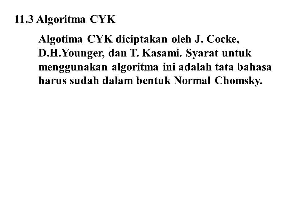 11.3 Algoritma CYK Algotima CYK diciptakan oleh J. Cocke, D.H.Younger, dan T. Kasami. Syarat untuk.
