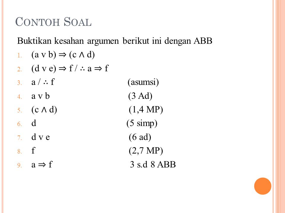 Contoh Soal Buktikan kesahan argumen berikut ini dengan ABB