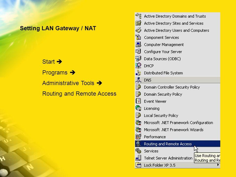 Setting LAN Gateway / NAT