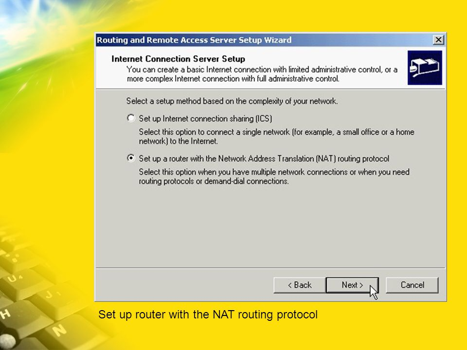 Set up router with the NAT routing protocol