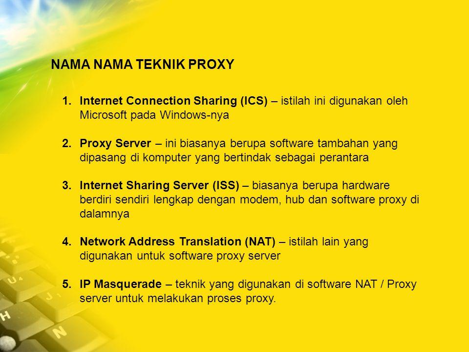 NAMA NAMA TEKNIK PROXY Internet Connection Sharing (ICS) – istilah ini digunakan oleh Microsoft pada Windows-nya.