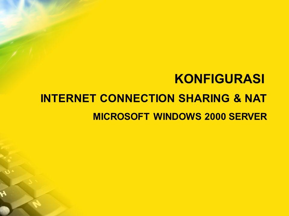 KONFIGURASI INTERNET CONNECTION SHARING & NAT