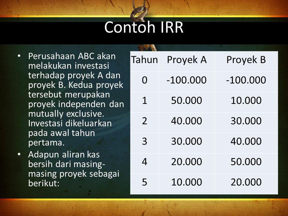 Contoh IRR Tahun Proyek A Proyek B -100.000 1 50.000 10.000 2 40.000