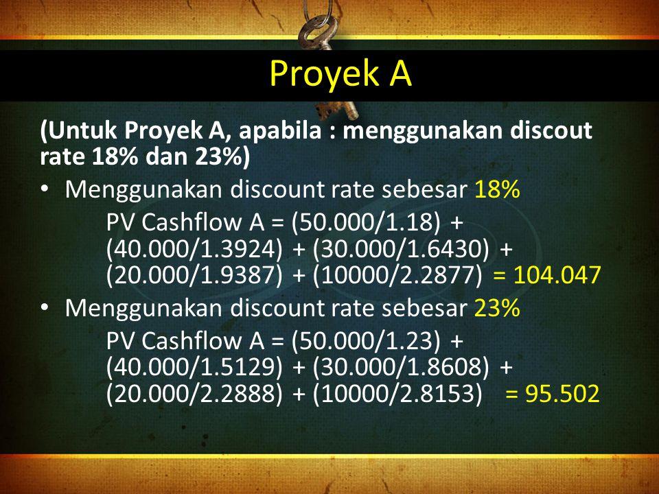 Proyek A (Untuk Proyek A, apabila : menggunakan discout rate 18% dan 23%) Menggunakan discount rate sebesar 18%