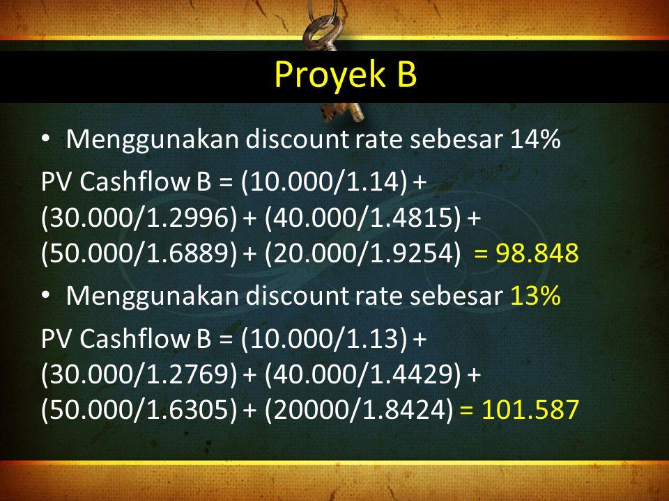Proyek B Menggunakan discount rate sebesar 14%