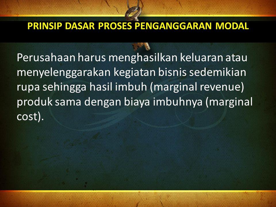 PRINSIP DASAR PROSES PENGANGGARAN MODAL