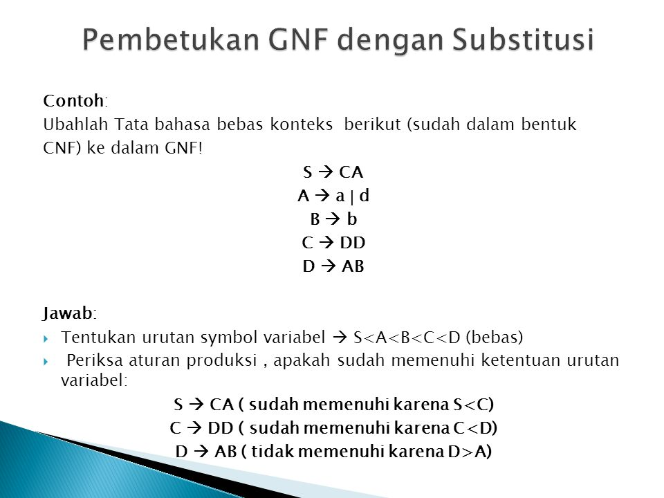 Pembetukan GNF dengan Substitusi