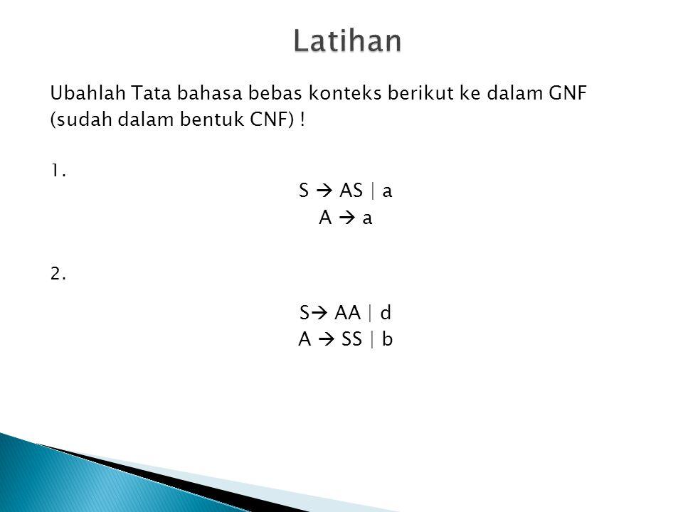 Latihan 1. 2. Ubahlah Tata bahasa bebas konteks berikut ke dalam GNF
