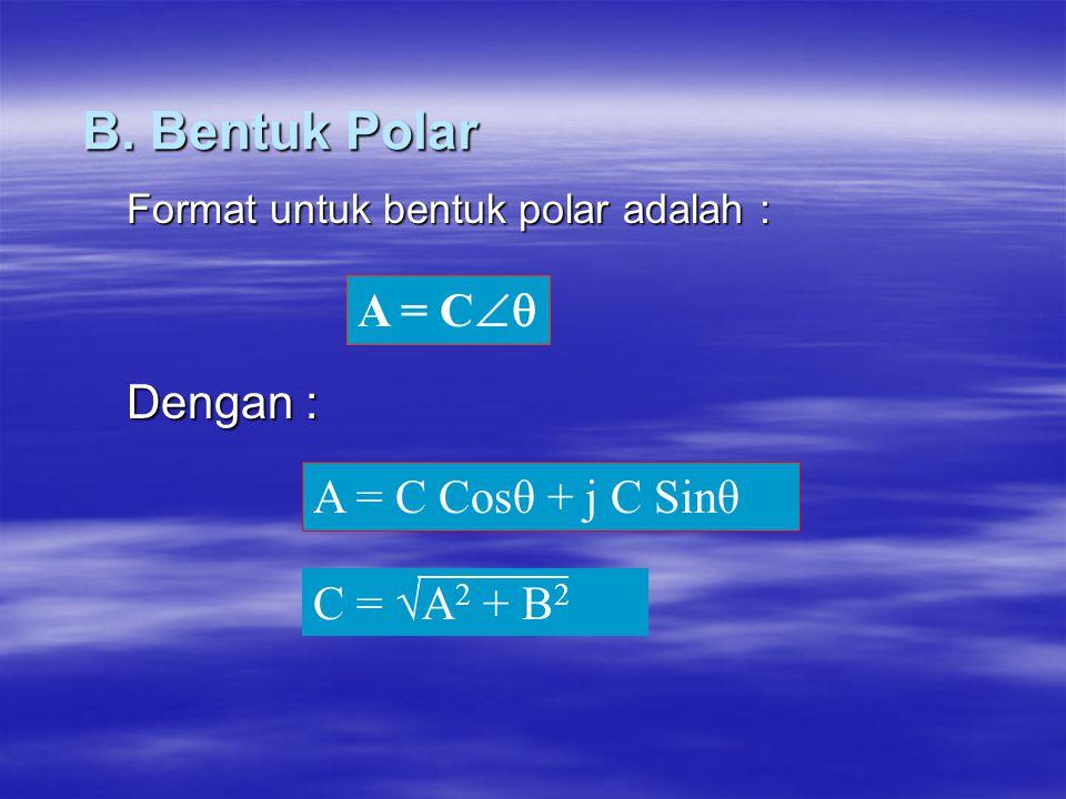 Format untuk bentuk polar adalah : Dengan :