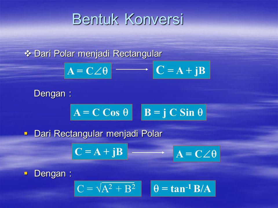 Bentuk Konversi C = A + jB A = C A = C Cos  B = j C Sin 