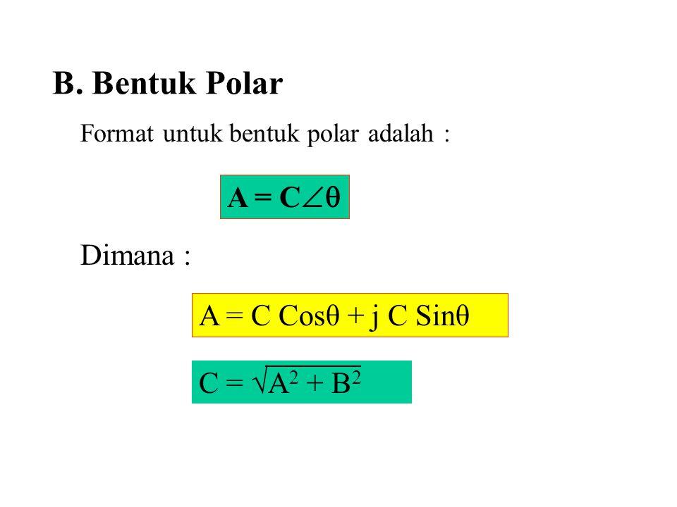 Format untuk bentuk polar adalah : Dimana :