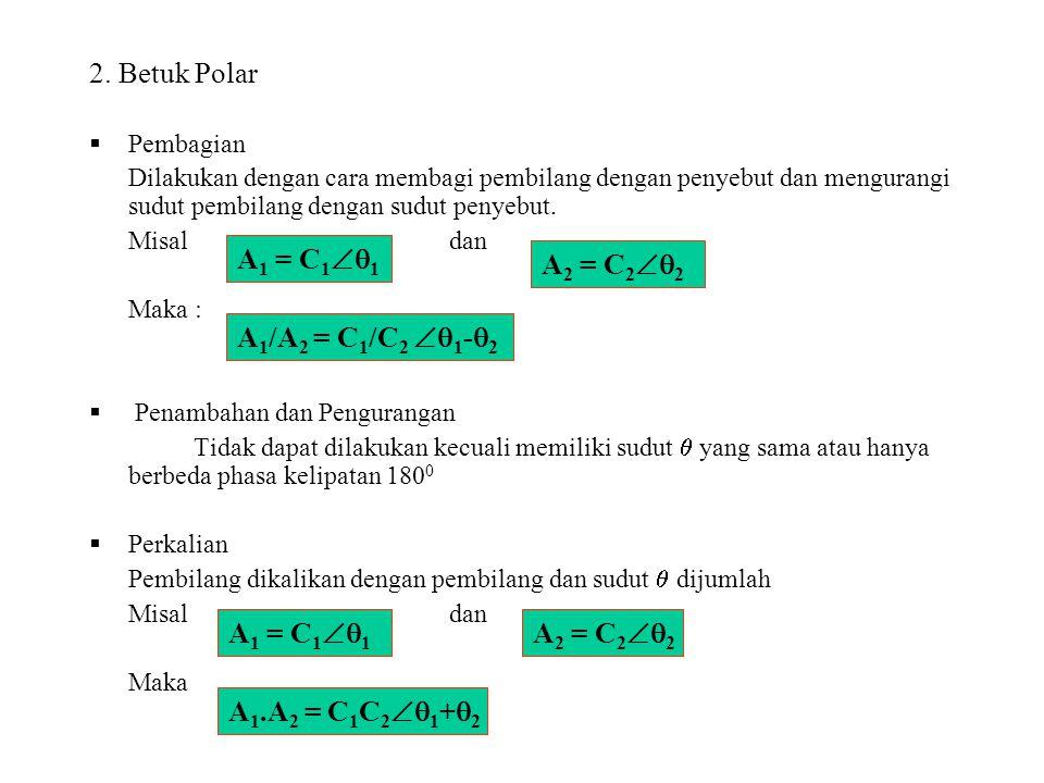 2. Betuk Polar A1 = C11 A2 = C22 A1/A2 = C1/C2 1-2 A1 = C11