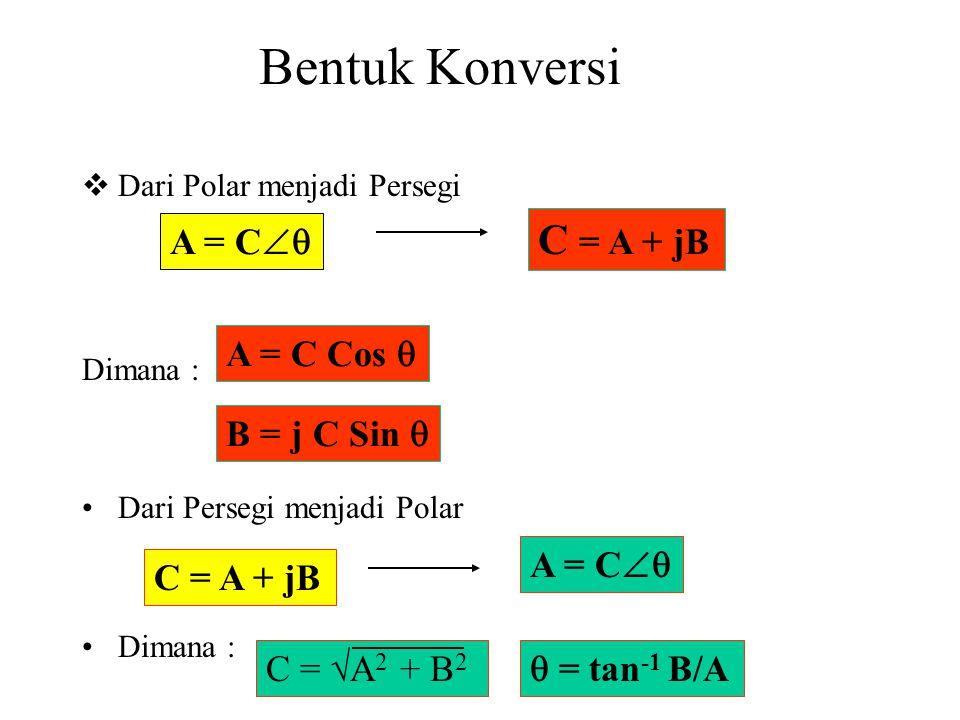 Bentuk Konversi C = A + jB A = C A = C Cos  B = j C Sin  A = C