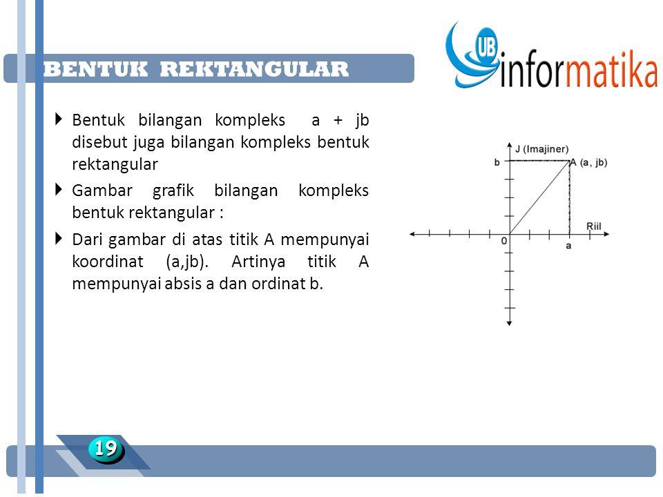 BENTUK REKTANGULAR Bentuk bilangan kompleks a + jb disebut juga bilangan kompleks bentuk rektangular.